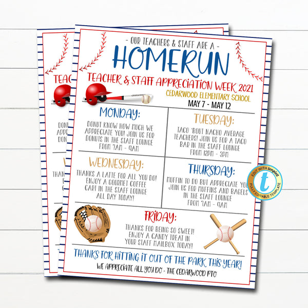 Baseball Teacher Staff Appreciation Week Itinerary Flyer, You're a Home Run Star Sports Theme, Schedule Events Printable EDITABLE TEMPLATE
