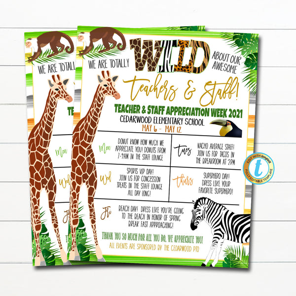 Jungle Teacher Appreciation Week Itinerary, We Are Wild About You, Watercolor Zoo Rainforest Theme Schedule Events, DIY EDITABLE TEMPLATE