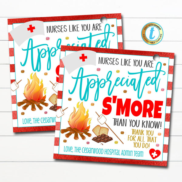 S'mores Gift Tag, National Nurse Appreciation Week Chocolate Candy Gift, Medical Nursing Staff Hospital Thank You Tag, DIY Editable Template
