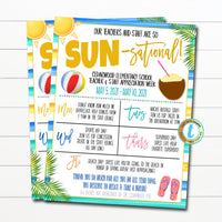 Beach Teacher Appreciation Week Itinerary, Tropical Hawaii You are Sun-sational Watercolor Theme Schedule Events Printable EDITABLE TEMPLATE