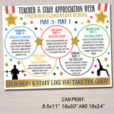 Gold Medal Theme Teacher Appreciation Week Itinerary Poster, Thank You Staff Nurse, School Pto Pta, Olympic Games Sports, EDITABLE TEMPLATE