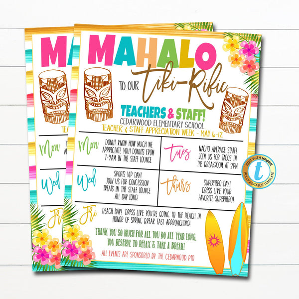 Luau Teacher Appreciation Week Itinerary, Tropical Hawaii You are Tiki-Riffic Beach Theme Schedule Events Printable, DIY EDITABLE TEMPLATE