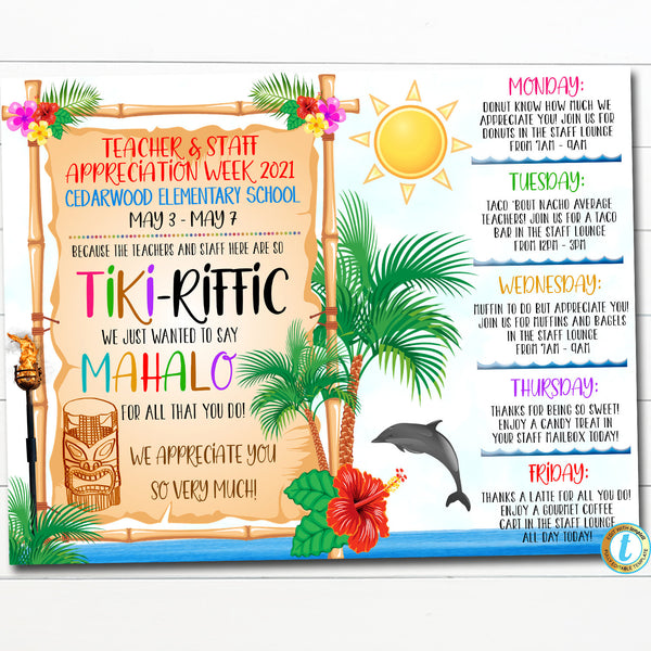 EDITABLE Hawaiian Themed Teacher Appreciation Week Itinerary Beach Theme Poster Appreciation Week Schedule Events INSTANT DOWNLOAD Printable