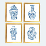 Blue and White Ginger Jar Digital Art Print, INSTANT DOWNLOAD, Blue and White Chinoiserie Vases Set of 4