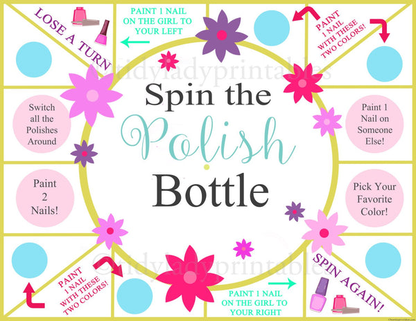 graphic regarding Spa Party Printable named Spin the Nail Polish Bottle Printable Match, Females Social gathering Sport, Spa Bash, Magnificence Social gathering, Sleepover Recreation, Nail Portray Video game - Fast Obtain