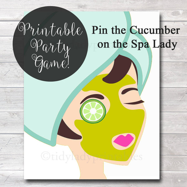 Pin the Cucumber on the Spa Lady, Girls Party Game, Spa Party, Beauty Party, Sleepover Game, Printable Party Game - INSTANT DOWNLOAD