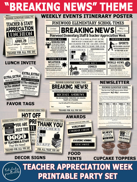 Newspaper Theme Teacher Appreciation Week Party Set