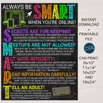 Computer Lab School Sign - Online Safety Rules Poster