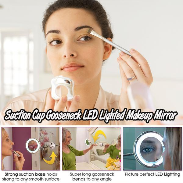 Suction Cup Gooseneck LED Lighted Makeup Mirror