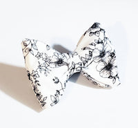 Black & White Selfie Floral Butterfly Bow Tie