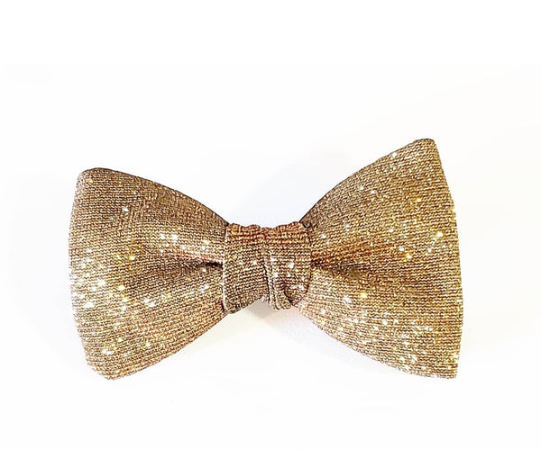 """King Xavier"" Gold Sequin Pretied Butterfly Bow Tie"