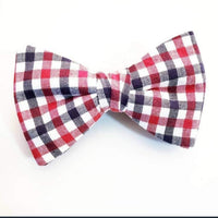 Red,White & Blue Gingham  Butterfly Bow Tie