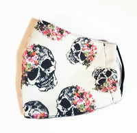 Skull Floral  Pink/White Stripes Mask