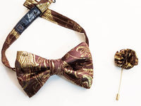 Sir. Ivan Chocolate Brown & Golden Floral Bow Tie