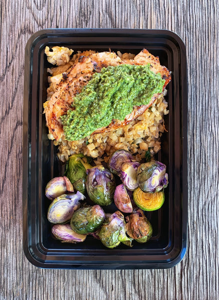 Grilled Chicken Breast topped with Pesto on Cauliflower Rice and Brussels Sprouts