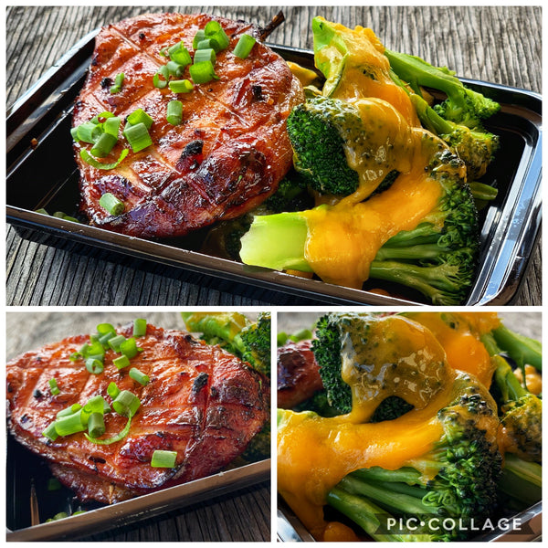 Bacon Wrapped Pork with Cheddar Broccoli