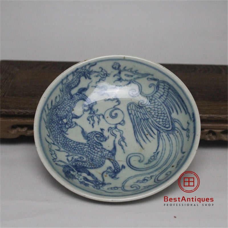 Chinese antique Qing Blue and white Dragon pattern Porcelain Pen holder