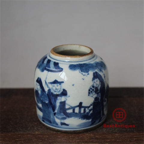 Qing Blue and White Characters Story Water Jar Old Goods Hand-painted Antique Vase Decoration Porcelain Collection Home Decor