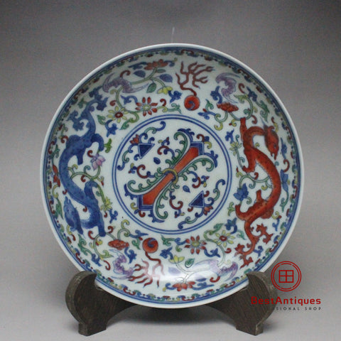 Qing Yongzheng Doucai Multicolored Hand-painted Dragon Plate Old Goods Antique Vase Decoration Porcelain Collection Home Decor