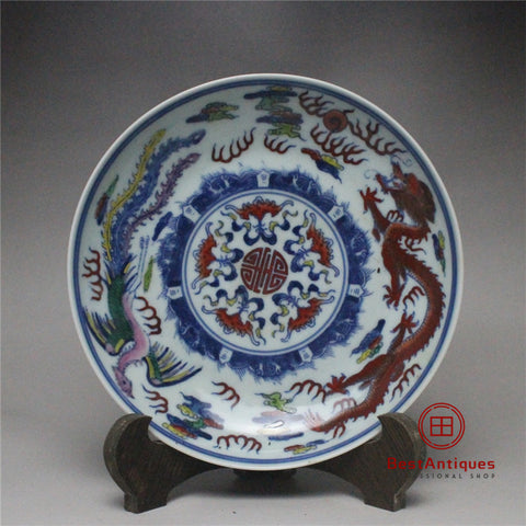 Qing Yongzheng Colorful Dragon Plate Hand-painted Old Goods Flower Vase Antique Vase Decoration Porcelain Collection Home Decor
