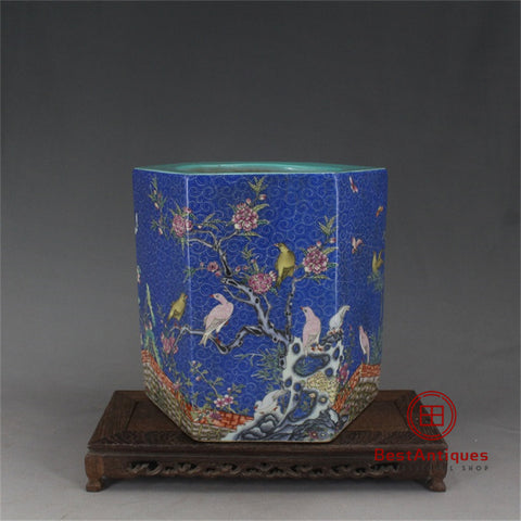 Qing Qianlong Blue Pink Flowers Birds Pen Holder Old Goods Antique Vase Decoration Porcelain Collection China Style Home Decor