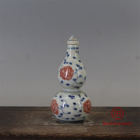 Qing Blue and White Glazed Red Gourd Snuff Bottle Old Goods Antique Vase Decoration Porcelain Collection China Style Home Decor