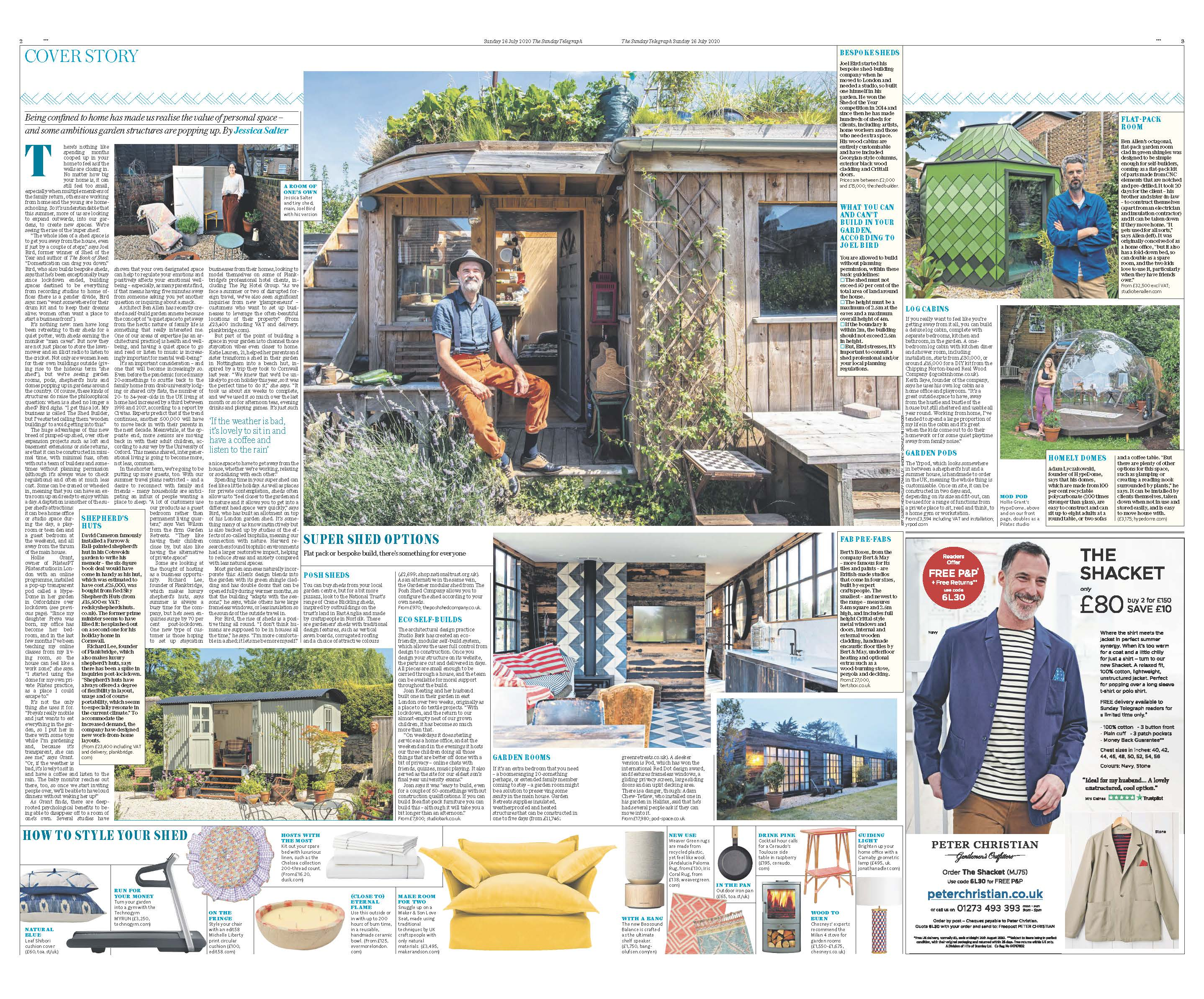Sunday Telegraph print article of the cover story on the rise of the super shed