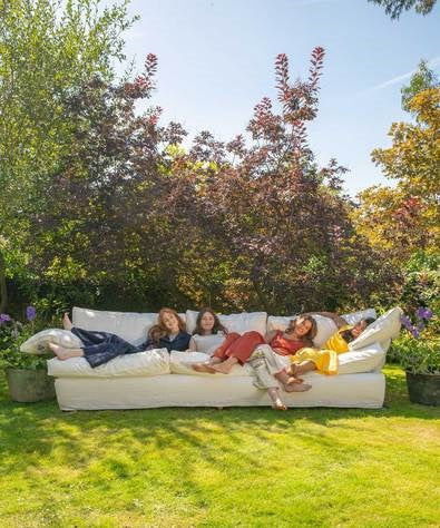 The Maker&Son team in a large linen/cotton sofa at Kemps House
