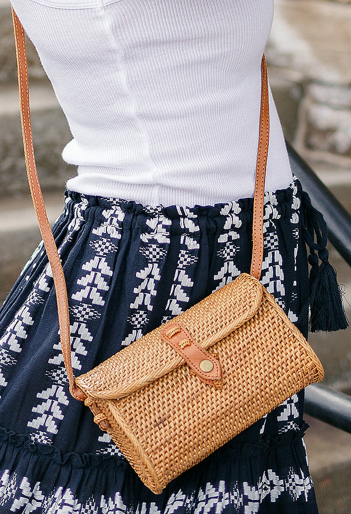 Willow Rattan Clutch/Crossbody Hand Bag