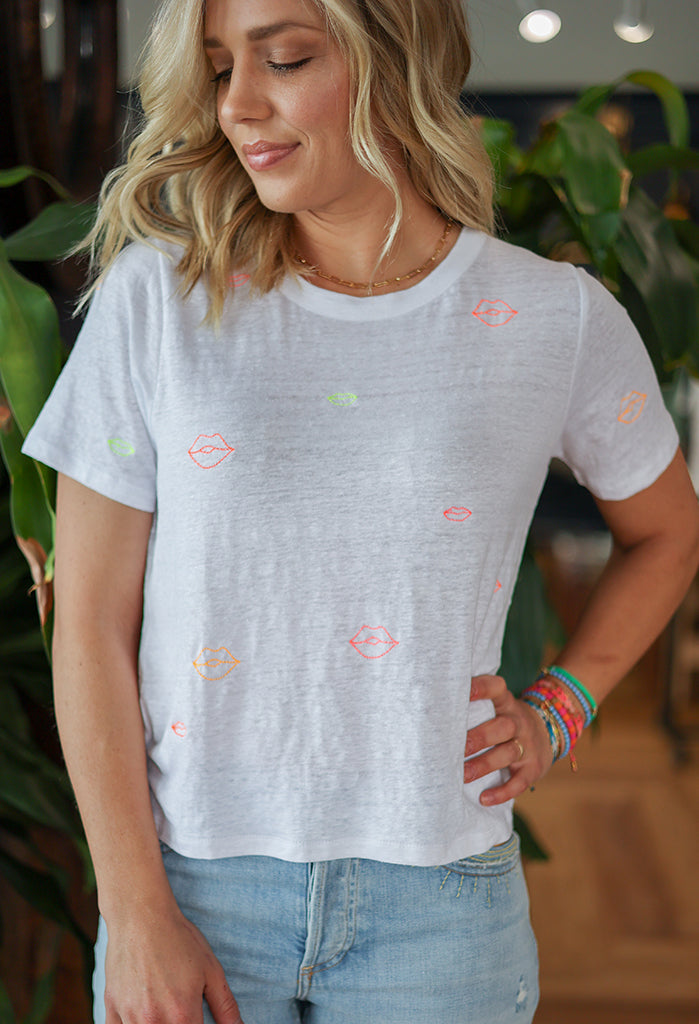 Chaser Linen Jersey Neon Lips Tee
