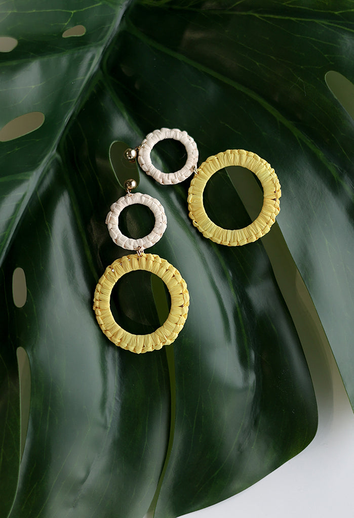 Raffia Double Hoop Earrings