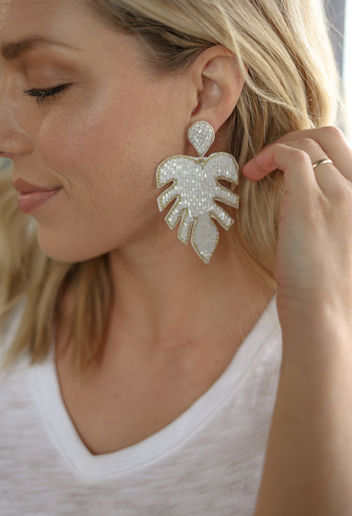 Beaded Palm Leaf Statement Earrings