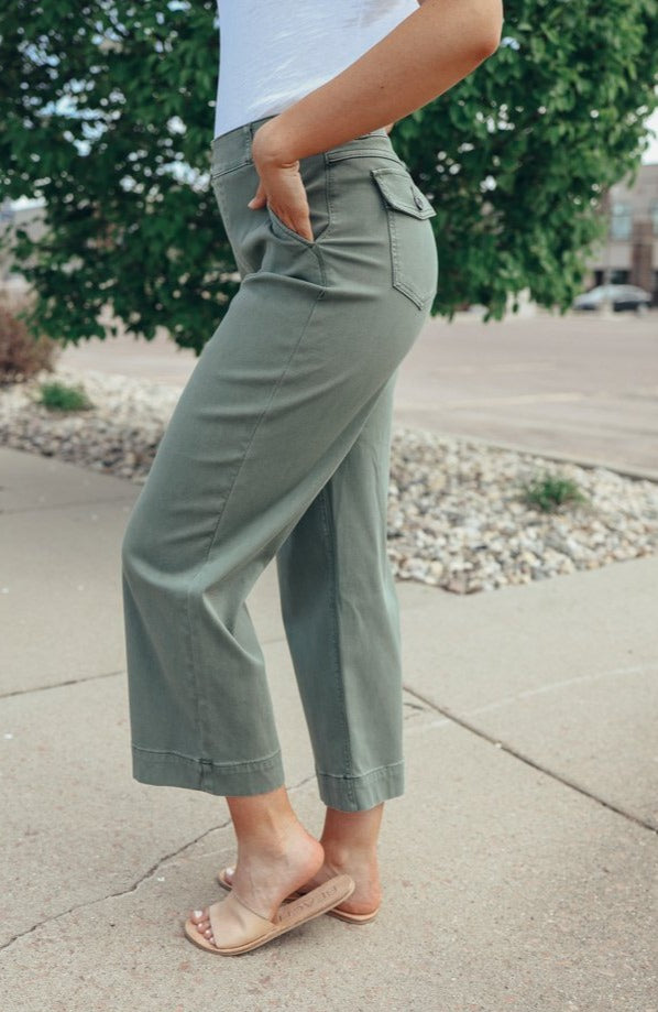 Spanx Stretch Twill Wide Leg Cropped Pant