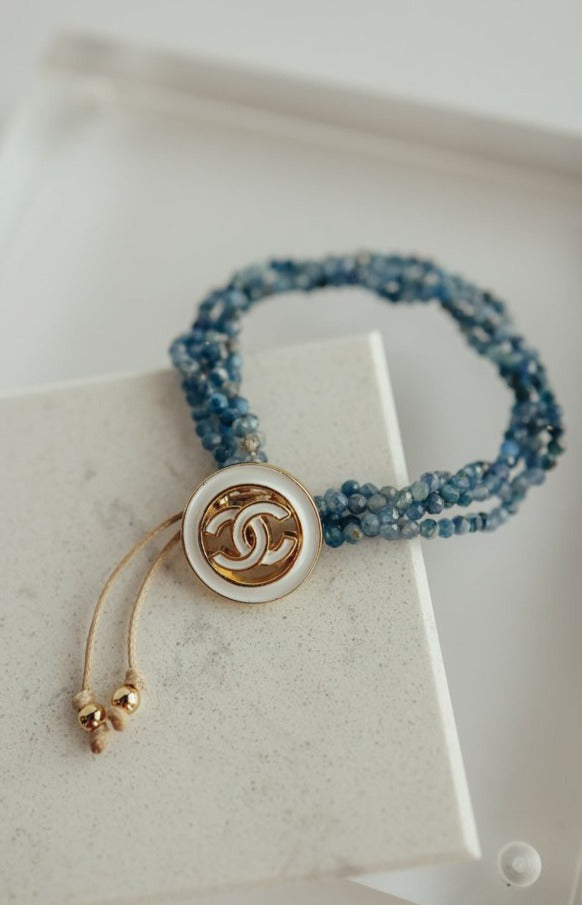 Designer Button w/ Kyanite Crystal Strand Bracelet