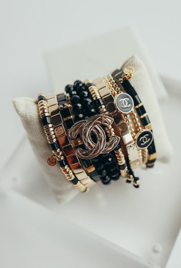 Designer Button & Gold Bead Bracelet, Black