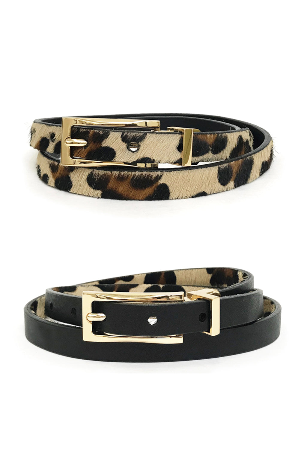 Helki Reversible Black to Leopard Belt