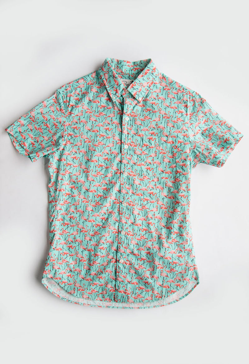 Bonobos Short Sleeve Riviera Shirt, Flamboyance of Flamingo - RUST & Co.