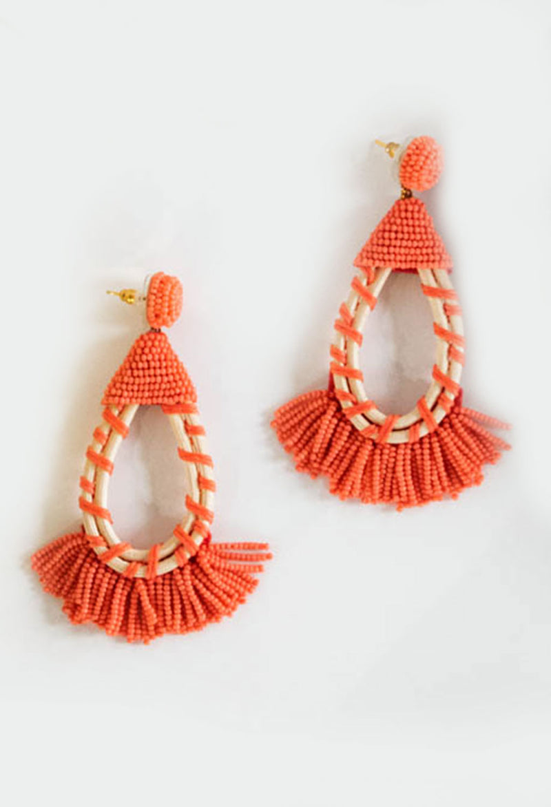 Raffia Coral Earrings