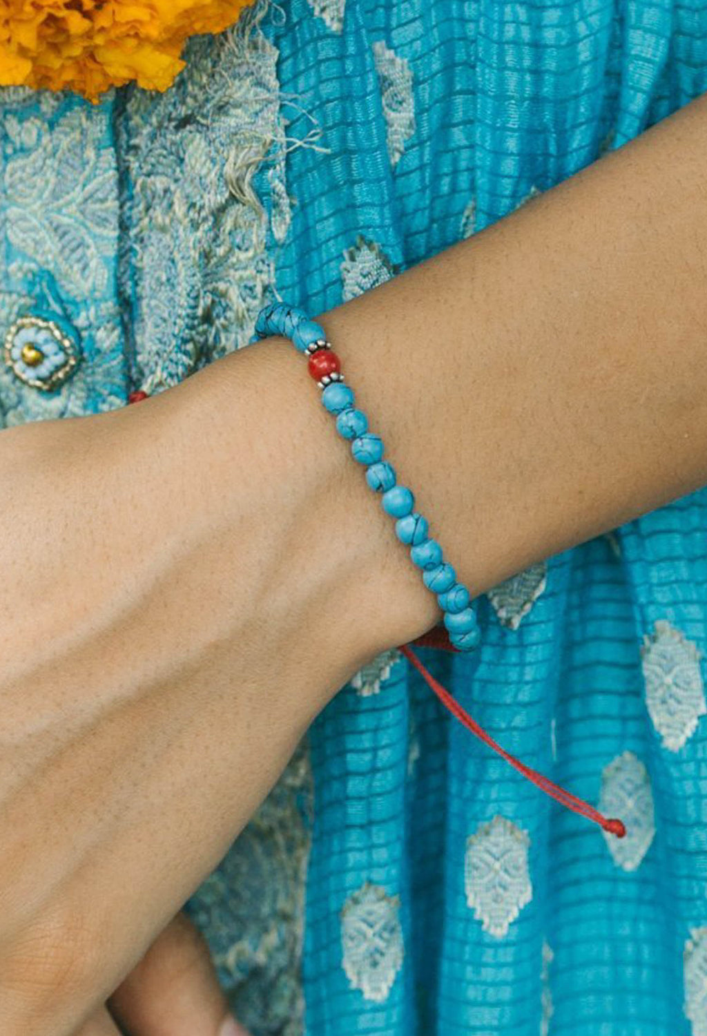 Bindi Bracelet, Turquoise & Coral - RUST & Co.