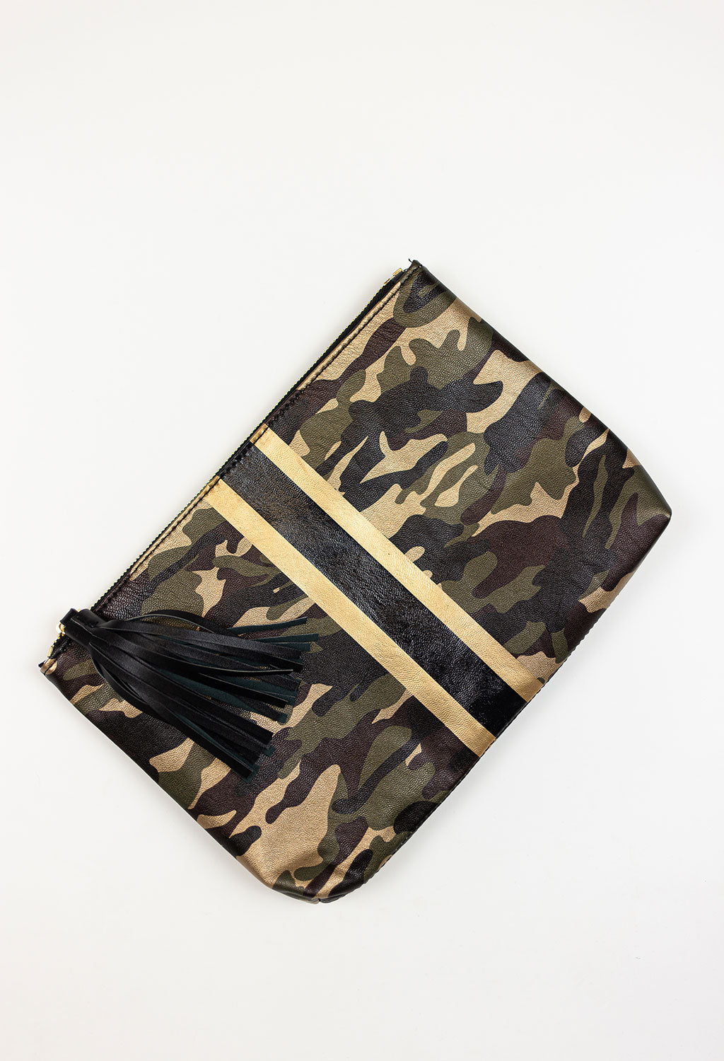 Metallic Camo Clutch with Stripe