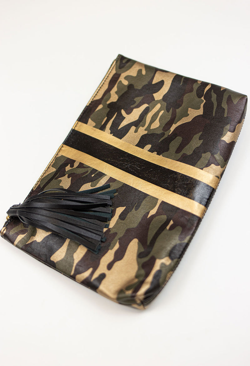 Metallic Camo Clutch with Stripe - RUST & Co.