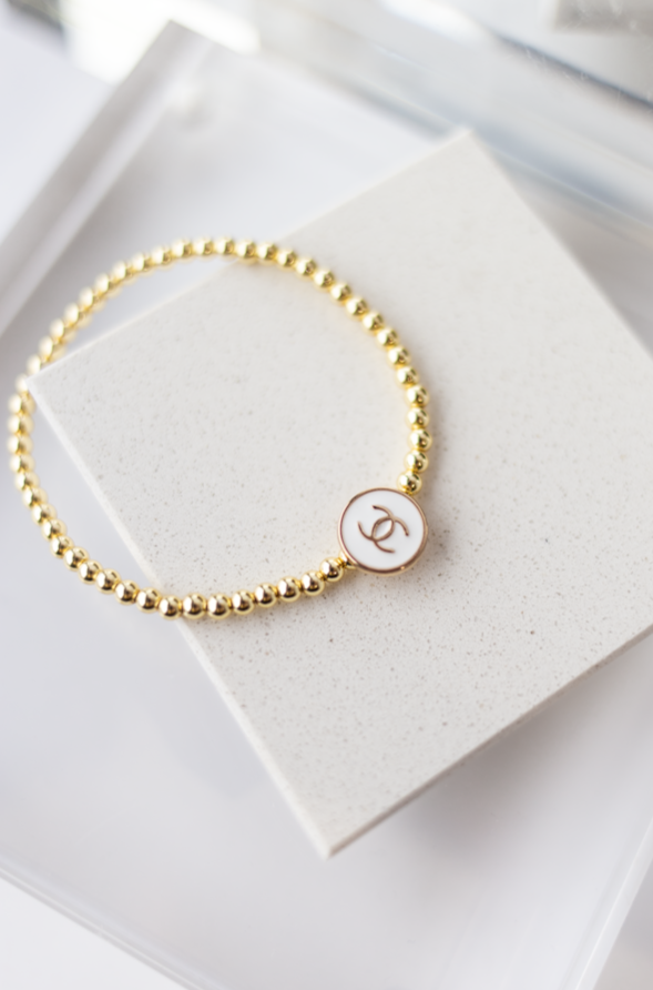 Designer CC Button & Gold Bead Bracelet