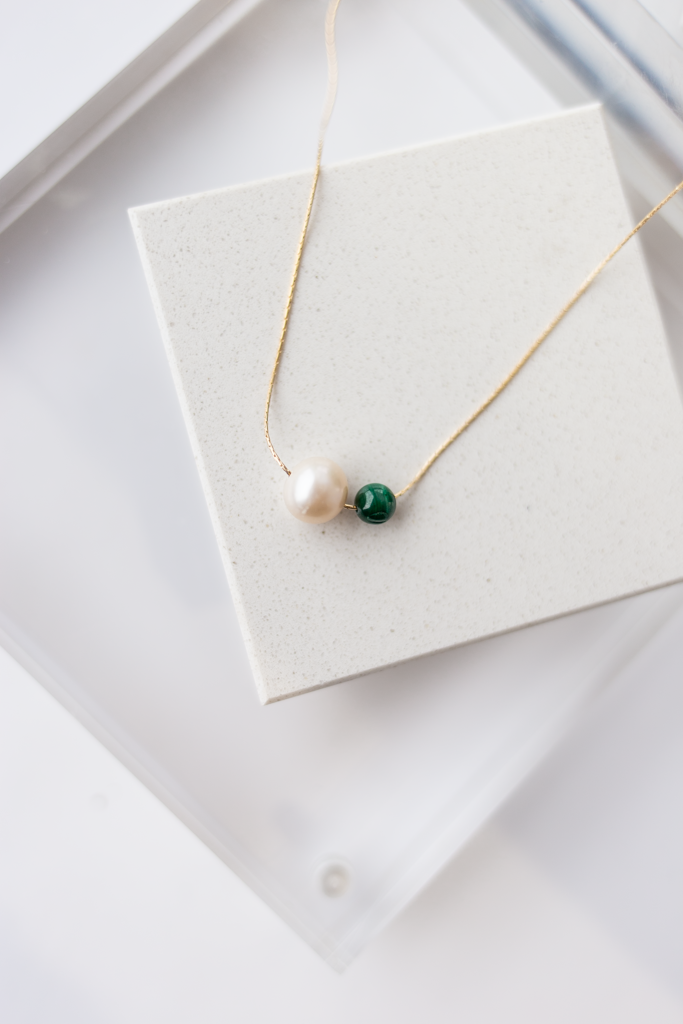 Tia Pearl & Malachite Necklace, 16-18""