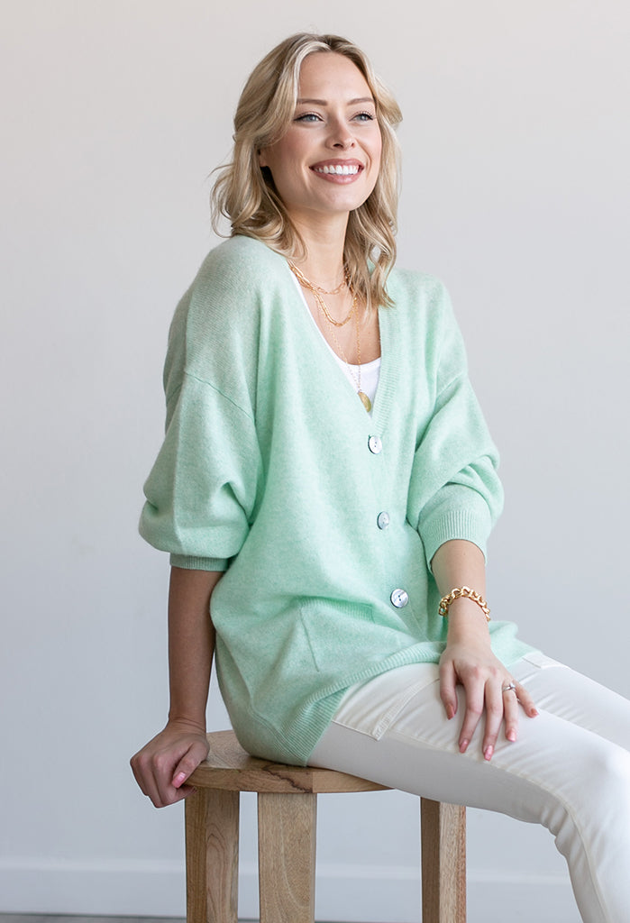 Bellamy Cashmere Cardigan, Heathered Lime