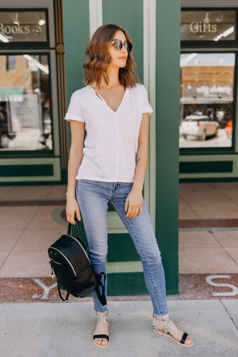 Linen Jersey V-neck Top With Ties