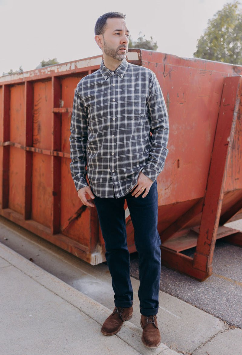 Rails Connor Plaid Shirt, Charcoal/Cream