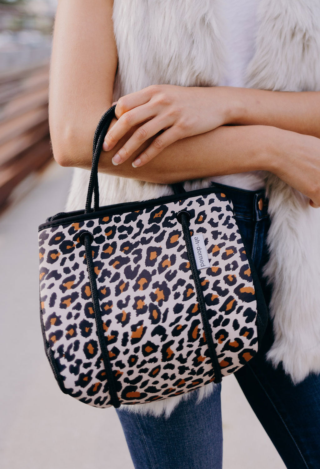 Mini Leopard Neoprene Bag w/ Black Sides - RUST & Co.