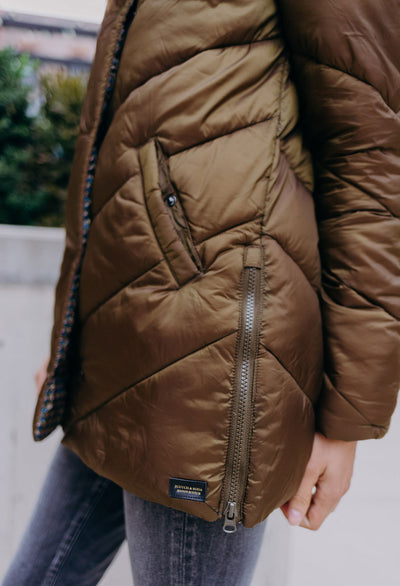 Scotch & Soda Quilted Hooded Hipster Jacket - RUST & Co.