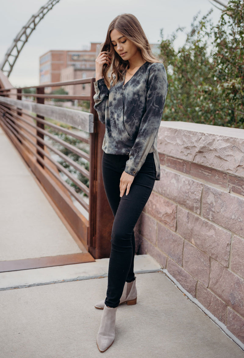 Silk Tie-Dye Hi Lo Crossover Top