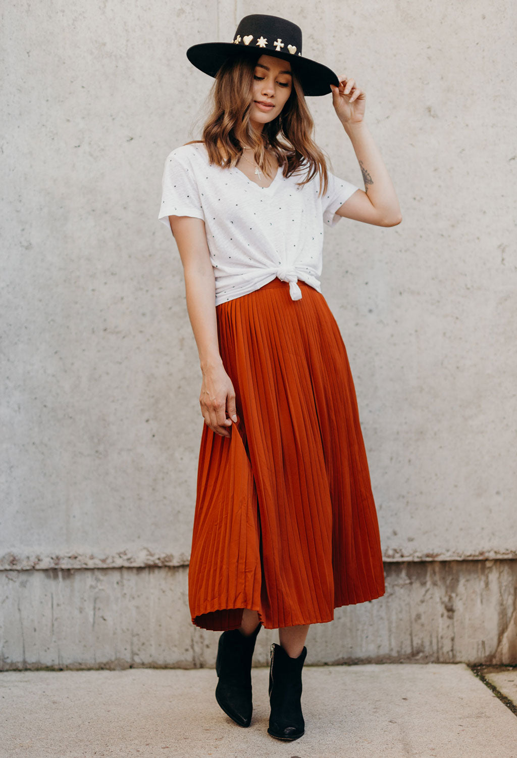 Jassy Pleated Midi Skirt